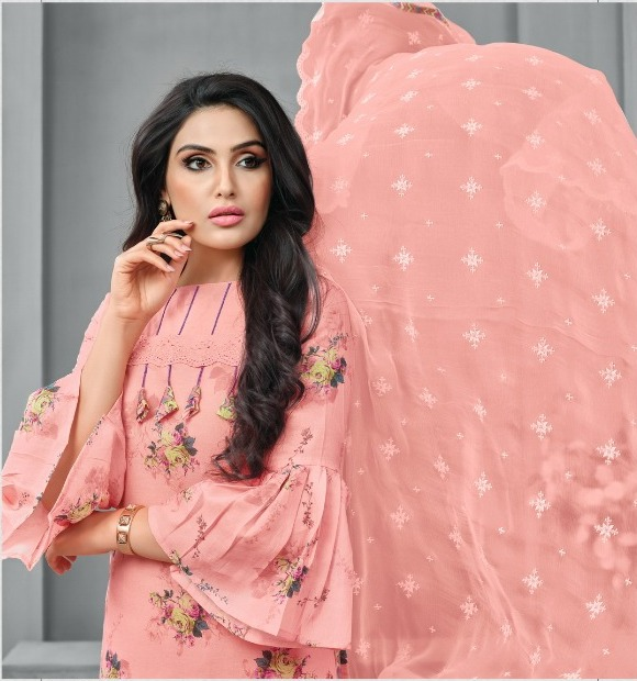 6cd9543062 Elegant Cotton Printed Salwar Kameez in light Peach Color – Rayhment ...