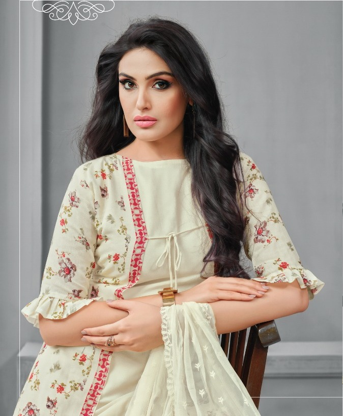 ba707dcc12 Elegant Cotton Printed Salwar Kameez In Beautiful White Color ...