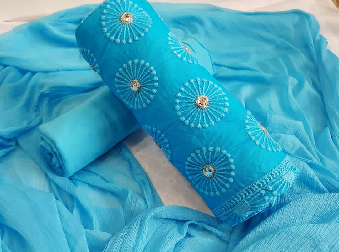 2ad8bd4004 Designer Cotton Dress Material in Sky Blue – Rayhment Apparel