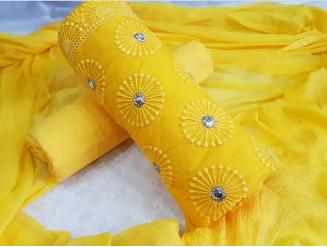 d9041ef212 Designer Cotton Dress Material in beautiful Yellow Color – Rayhment Apparel