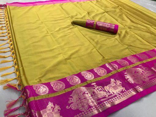 8aa71b0de0 Designer Wear Saree in Mustard Yellow and Pink – Rayhment Apparel